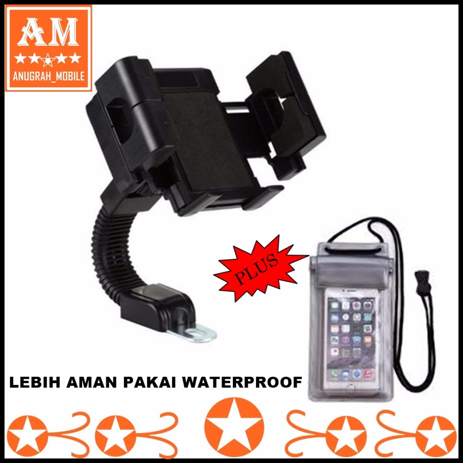 ... Universal Phone Holder Sepeda Motor Spion dudukan smatphone pada motor + Waterproof ...