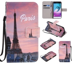 Upscale Colorful Pattern Eiffel Tower Card Slot Wallet PU Leather Stand Flip Case Cover for Samsung