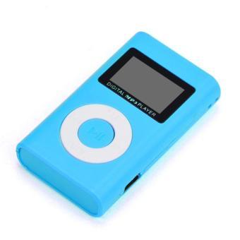 USB Mini MP3 Player LCD Screen Support 32GB Micro SD TF Card Blue .