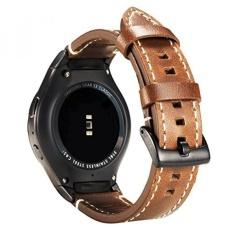 Valkit untuk Gear S2 Bands, Penggantian Kulit Asli Smart Watch Band dengan Stainless Steel Adaptor Konektor, Besar Kecil Lembut Gelang Sport Gelang Strap untuk Samsung Gear S2 (SM-R720/R730), Brown-Intl
