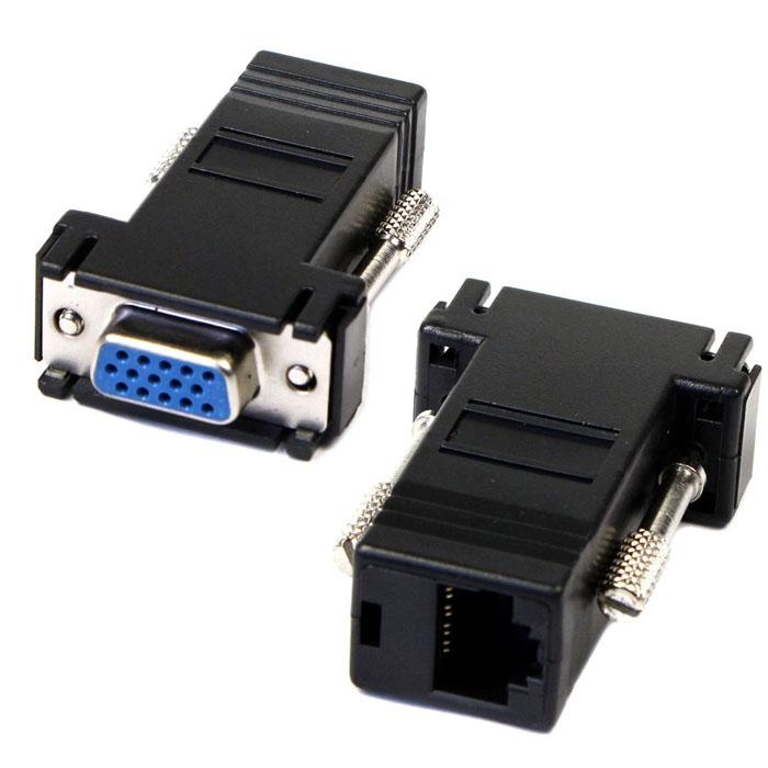 Shopping Comparison VGA Extender Female To Lan Cat5 Cat5e RJ45 Ethernet Female Adapter- intl
