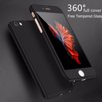 Viking Front Back 360 Degree Full Protection Iphone 6/6S - Black + Tempered Glass