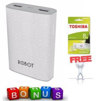 Vivan Robot RT7100 6600mAh 2 USB Ports Power Bank 100% Original + Toshiba Flashdisk Hayabusa 8GB