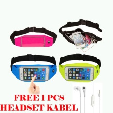 Waterproof Sport Waist Bag for Handphone Android+Free Headset Kabel for Sony Xperia E3/E3 Dual - Pink