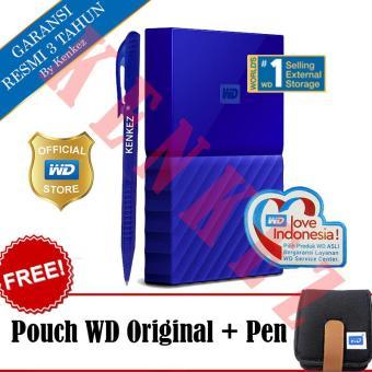 harga WD My Passport New Design 1TB/2.5Inch/USB3.0 - Biru + Free Pouch + Pen Lazada.co.id