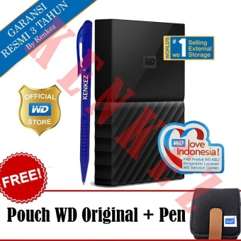 WD My Passport New Design 4TB/2.5Inch/USB3.0 - Hitam + Free Pouch + Pen
