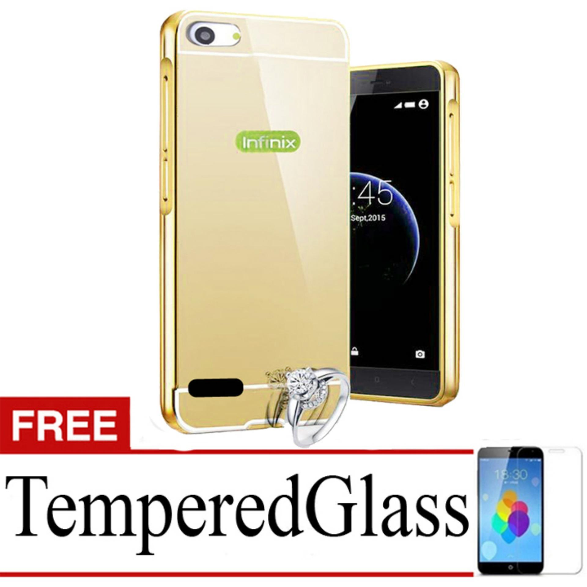 ... X Case Mirror Aluminium Bumper For Infinix Hot 3 X553 Free Tempered Glass - Gold ...