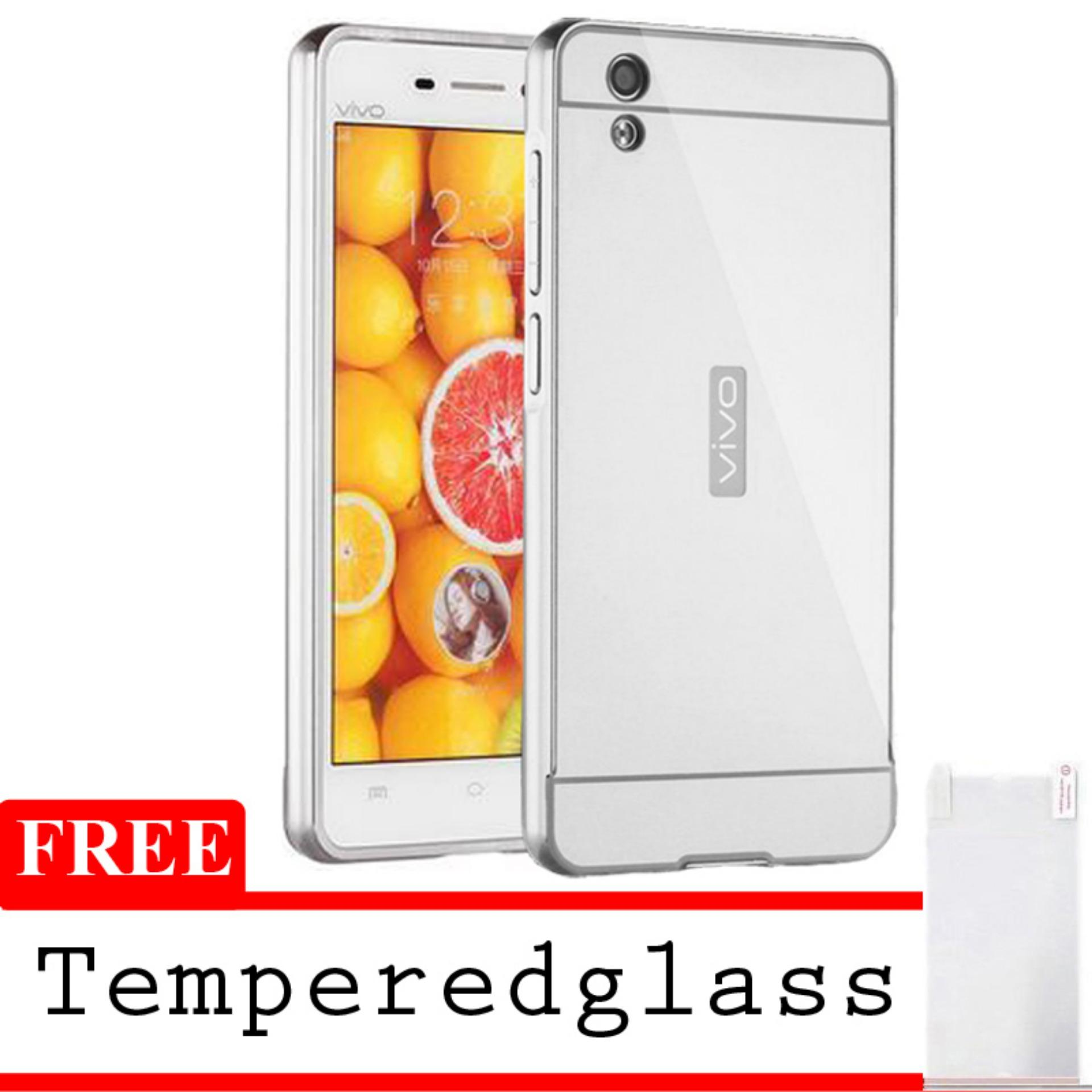 ... X Case Mirror Aluminium Bumper For Vivo Y15 Free Tempered Glass - Silver ...