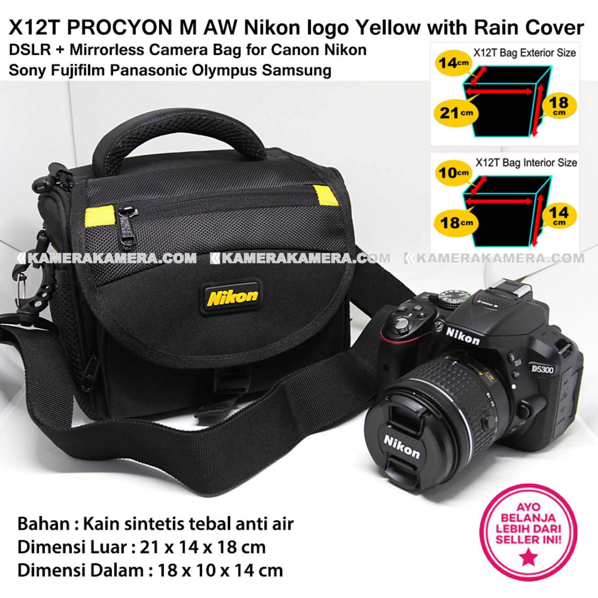 ... X12T PROCYON M AW Nikon logo Yellow with Rain Cover for DSLR + Mirrorless Camera Bag ...