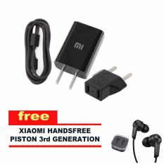 Xiaomi Travel Charger 2A Fast Charge Original + GRATIS Handsfree Xiaomi Piston 3nd Gen - Hitam