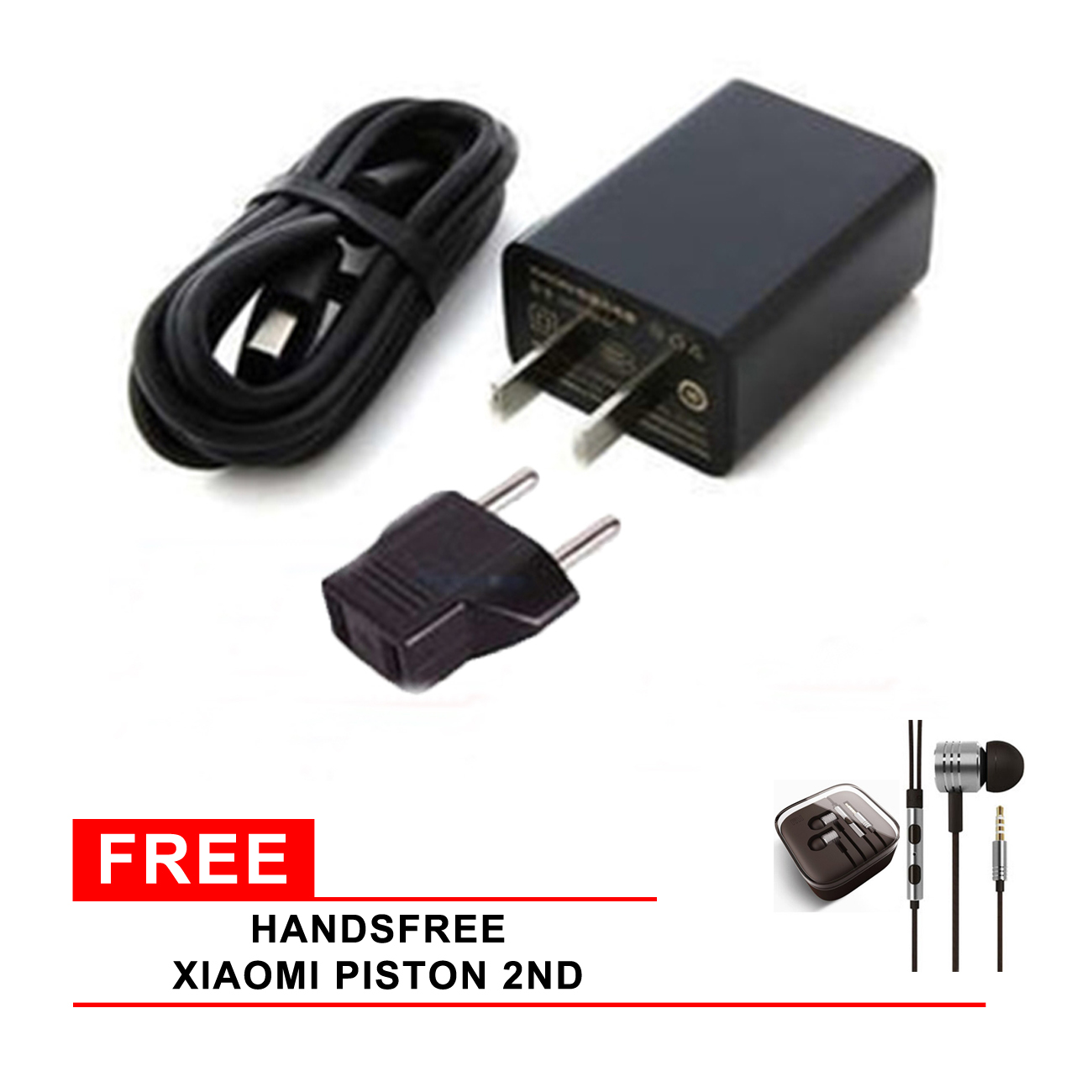 Xiaomi Travel Charger Adapter 2A Fast Charging + GRATIS Handsfree Xiaomi Piston 2nd .