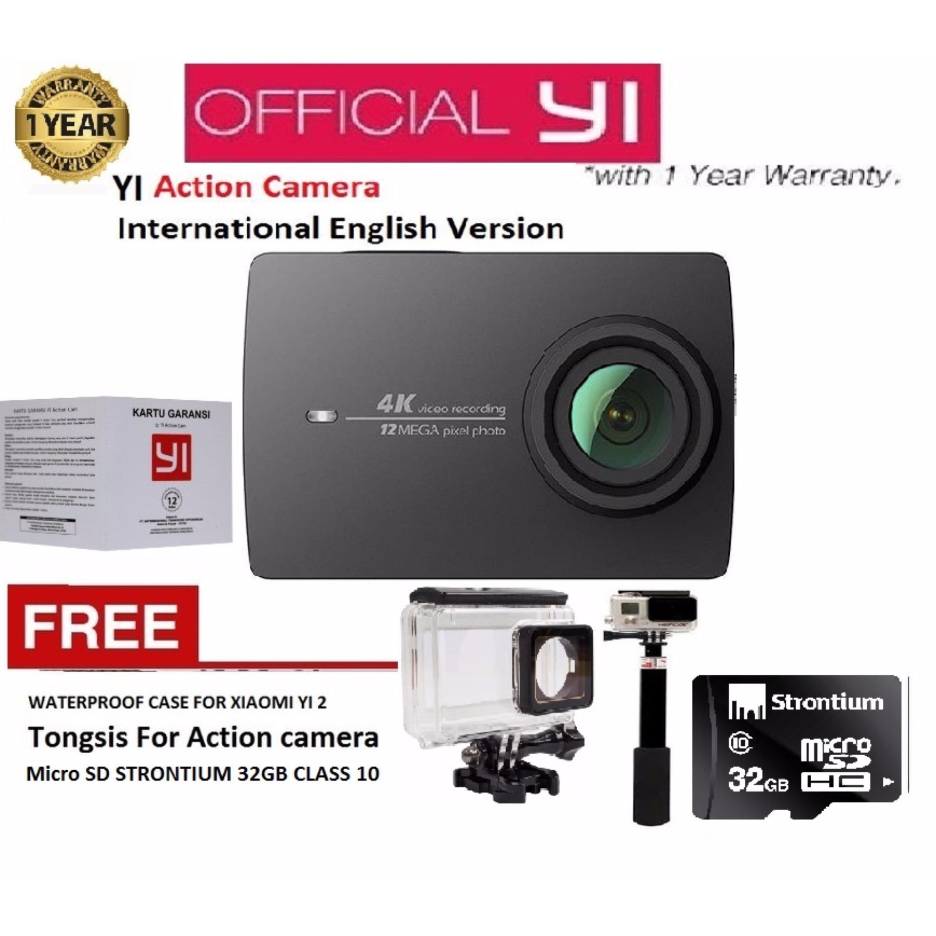 ... Xiaomi Yi 2nd Gen Action Camera With 4k - Hitam - International Version + Gratis Tongsis ...
