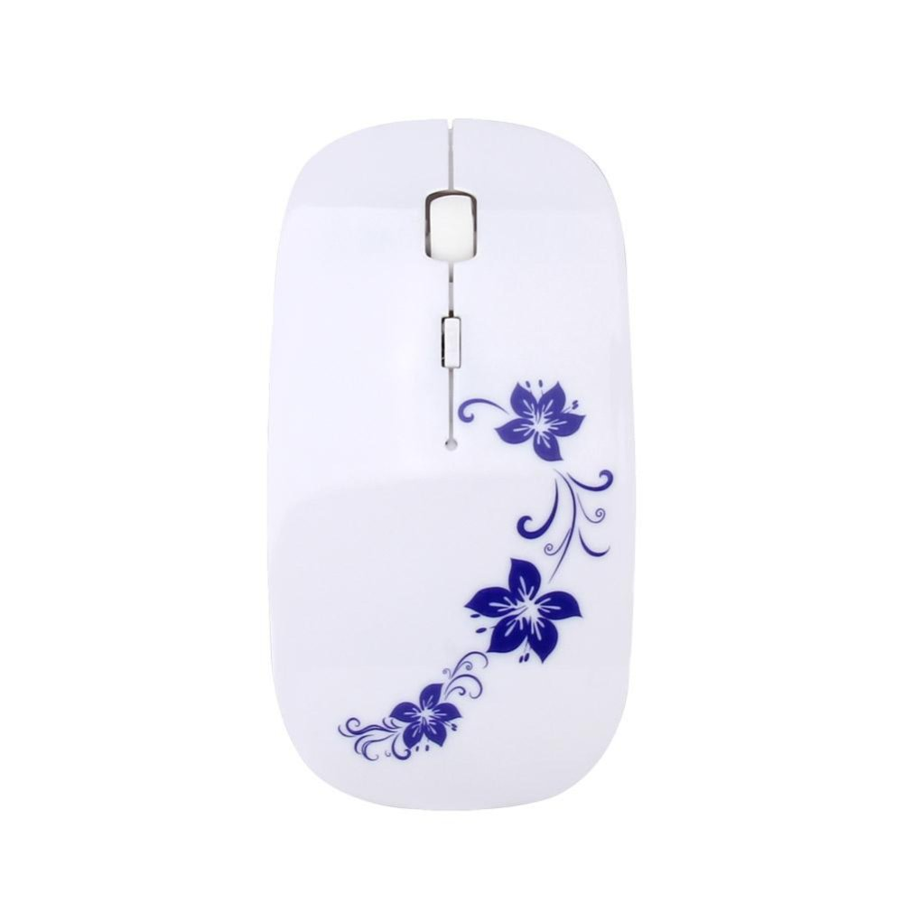 Ybc Portable 24ghz Wireless Mouse Usb Elegant Flower Painted Optical Gaming Gamer Mice Intl