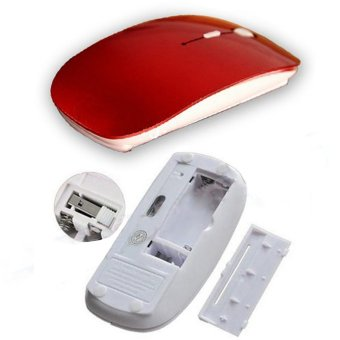 Detail Gambar Produk YBC Wireless Mouse 2.4G Receiver Ultra-thin Mouse for Computer Red