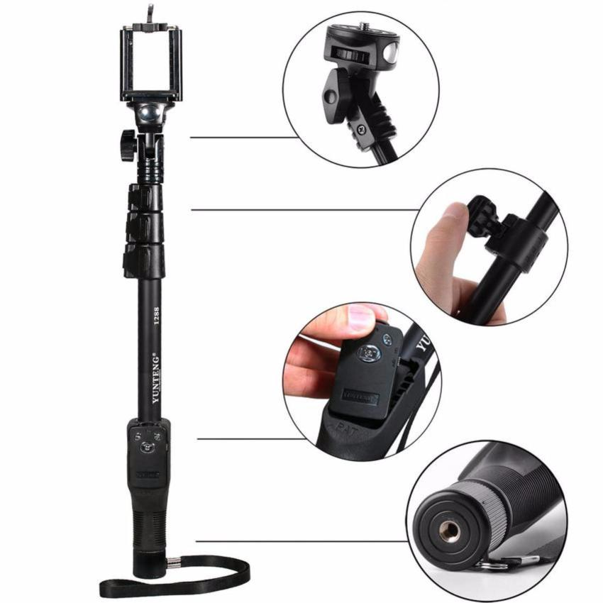 Yunteng YT-1288 Monopod / Selfie Stick / Tongsis Bluetooth with Shutter and U Holder YT1288 (Hitam)