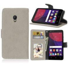 Zoeirc Fashion Pelindung Berdiri Dompet Dompet Kartu Kredit Pemegang Magnetic Flip Folio TPU Lembut Bumper Kulit Case Penutup untuk Alcatel One Touch Pixi 4 (5.0 Inch) -Intl