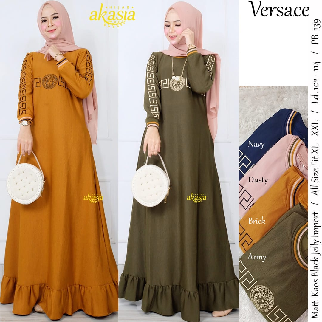 COD Realpict Dress Versace Kaos Black Jelly Import  Long Dress Hijab  Brokat Model Pesta  Dress Muslim Modern Terbaru