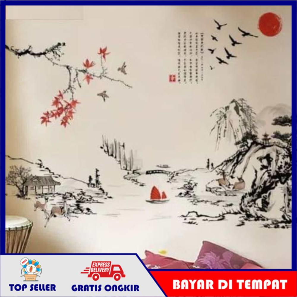 [Ar Rahim Store] Stiker Dinding Wallpaper 60x90cm Motif Karakter Sketsa Gunung Lukisan Pemandangan Dekorasi Keren