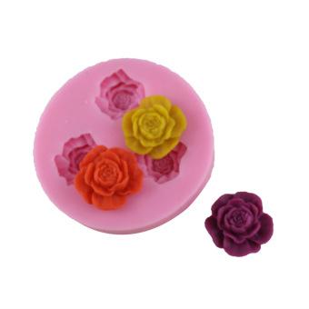 1 buah 3-lubang mawar Dekorasi Kue Bentuk pemodelan Fondant Cokelatpuding cetakan silikon Alat Dapur