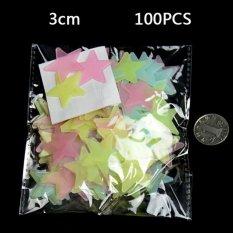 100 pcs Wall Ceiling Glow In The Dark Stars Stiker Decal Baby Kids Dekorasi Kamar Tidur Mulitcolor 3cm