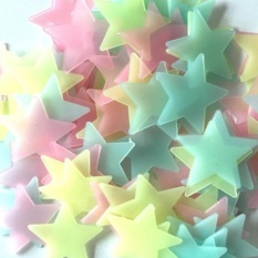100pcs Wall Decals Glow In The Dark Nursery Room Color Stars Luminous Fluorescent Wall Stickers - intl