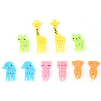 10Pcs/set Cute Eco-friendly Plastic Mini Food Fruit Serving ForkKitchen Party Decorations #2 - intl - 5