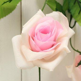 buatan kerajinan hiasan pesta pernikahan buket bunga pengantin dekorasi cahaya merah muda.