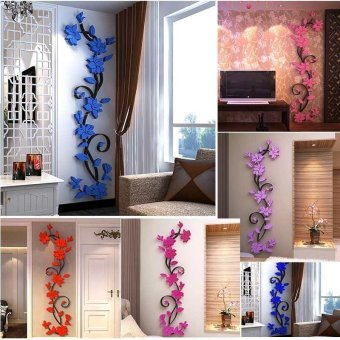 3 D DIY acrylic Modern Decal seni Mural dinding stiker Rumah dekorasi bunga - 2