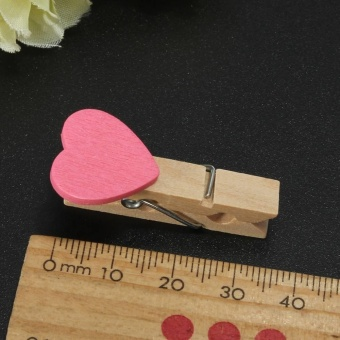 30 Pcs Fashion Heart Shape Clips Wooden Craft Photos Paper PinClothespin Postcard Clip - intl - 5
