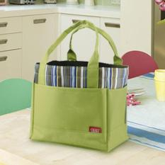 360DSC kotak makan siang kantong piknik jinjing tas penyimpanan portabel dengan tali tarik bergaris - Hijau