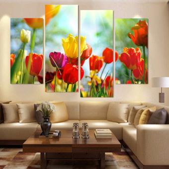 harga 4 buah dekorasi rumah lukisan cat minyak bunga-bunga indah HDgambar kanvas seni cetak di dinding untuk ruang tamu ZC306 -International Lazada.co.id