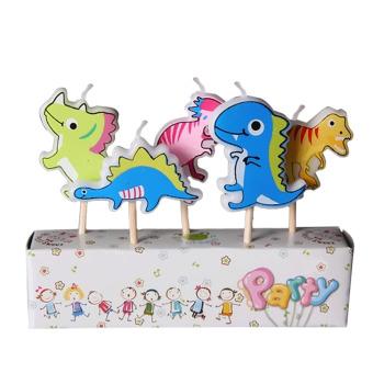 harga 5 buah kartun parafin lilin kue ulang tahun anak dekorasi dengan tongkat kayu dinosaurus (???? ??????) - ???? ?????? Lazada.co.id