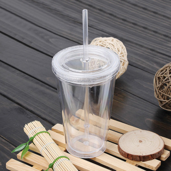 500mL Plastic Drinks Cup Liquid Beaker Lid + Straw for Party IcedCoffee Juice White- intl - 2