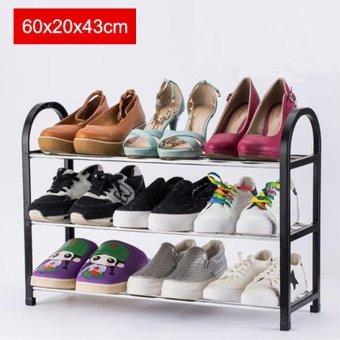 harga 60x20x43cm Portable Shoe Rack Stand Shelf Home Storage OrganizerCloset Cabinet - Black - intl Lazada.co.id