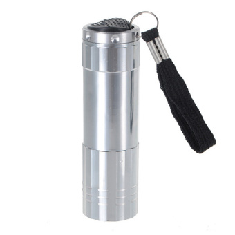 9 LED Aluminium Mini Pocket Torch Flash Flashlight Camping Light Small Lamp AAA Silver