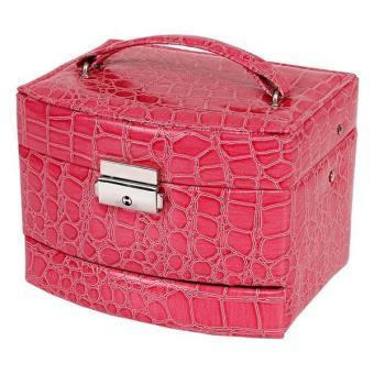 Ai Home 3 lapis biji-bijian motif buaya kotak penyimpanan perhiasan(merah muda)