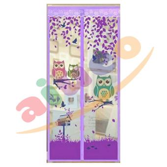 AIUEO Magic Mesh Tirai Magnet Anti Nyamuk Motif Owl - Tirai Pintu Magnet - Ungu