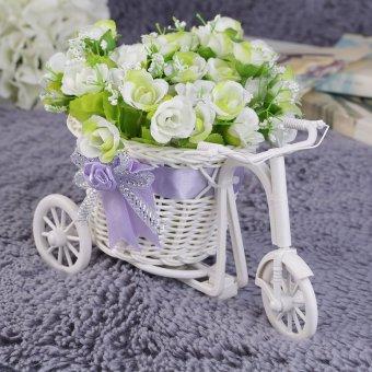Allwin Simpul Rotan Sepeda Roda Tiga Keranjang Hadiah Pesta Dekorasi Pernikahan Dekorasi Rumah Ungu - 2
