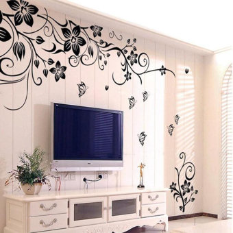 Amart Stickers Home Wall Sticker Flowers and Vine Mural Decal Art Stikers - intl