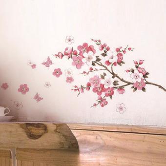 Amart stiker dinding cabang bunga Sakura hiasan rumah ruang tamu - intl - 2