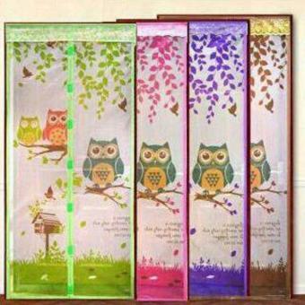 ASB Tirai pintu magnet anti nyamuk motif OWL - PINK - 2