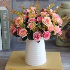 AUkEy Hot Elegan Eropa Buatan Mawar Sutra Karangan Bunga Decal (Gelap Pink)-Intl