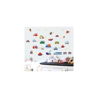AY7212 : Wallsticker/Wall Stiker Transparan 50X70-BUS- CAR N PLANE