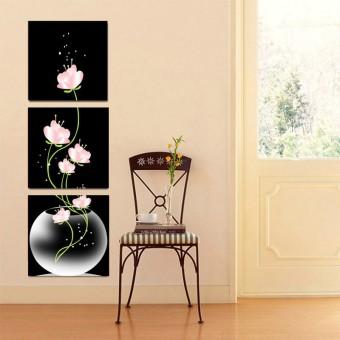 Gambar Produk Baru 3 panel bunga-bunga indah yang dicetak di atas kanvas untukmasuk hitam