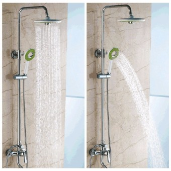 Bathroom Round Spray Rain Rainfall Top Shower Head +Hand-held Shower Head Set - intl