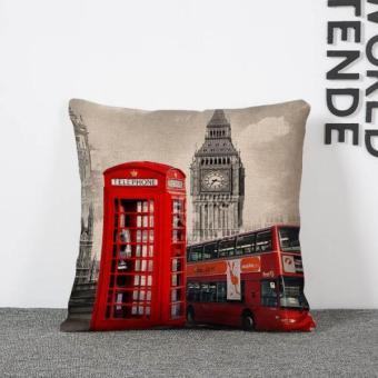 BolehDeals 45 cm x 45 cm vintage Merah bilik telepon linen bantalsofa bantal menutupi kasus dekorasi 3 (International) - 2