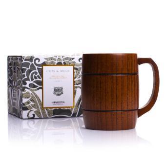 BolehDeals cangkir kayu bir gelas bir Mug kopi susu cangkir minumanpernikahan yang pengiring pria hadiah -