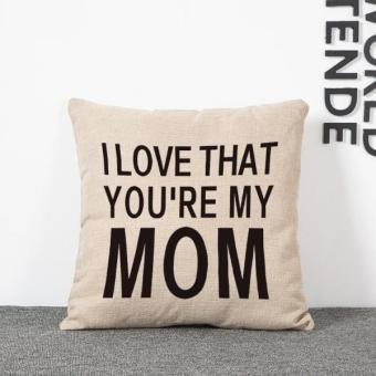 BolehDeals Cinta Ma Kata Sarung Bantal Linen Bantal Sofa KasusTambahan Dekorasi Rumah (International) - 2