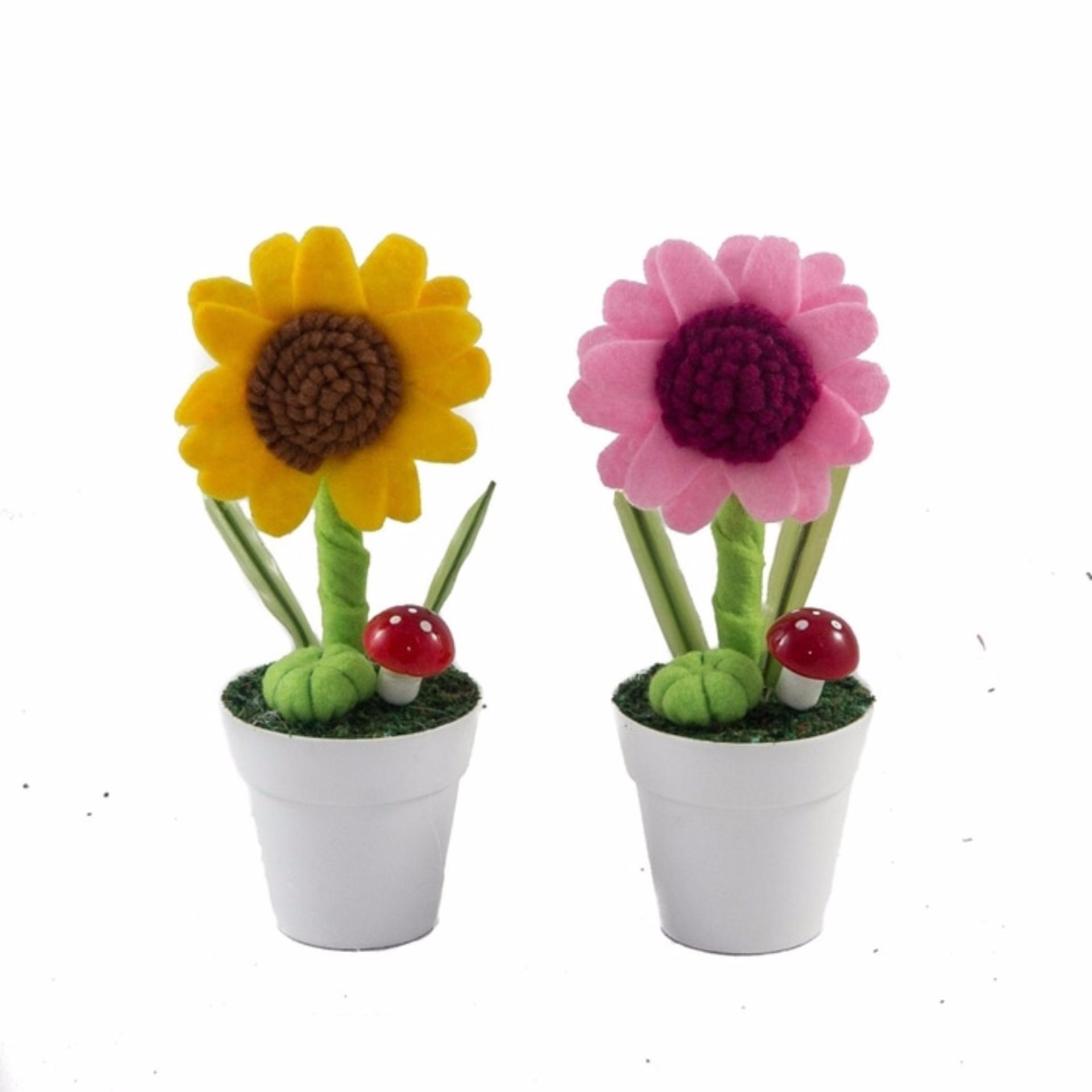 Buket Bunga Matahari Flanel Vas Plastik Putih