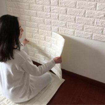 BUYINCOINS Terbaru 3D Efek Kertas Pelapis Dinding Bata YangFleksibel Viny Diri Perekat - 2